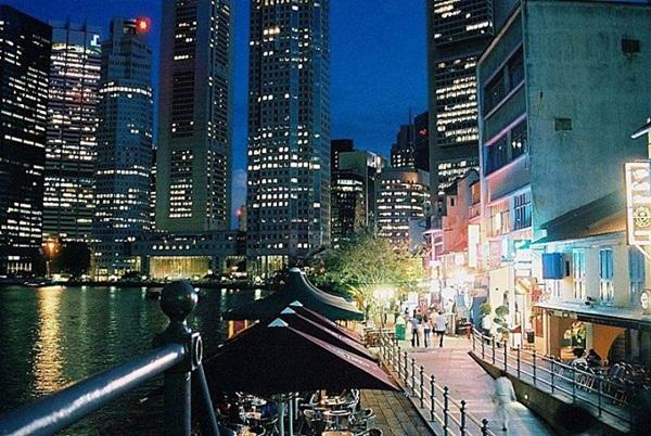 Bến cảng Boat Quay về đêm
