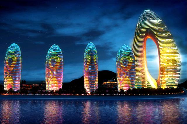 Thành phố Tam Á lộng lẫy về đêm